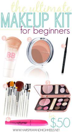 Beginners Makeup Kit. http://www.hairsprayandhighheels.net/2014/02/makeup-for-beginners/