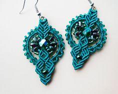 Teal lightweight earrings micro macrame earrings por MartaJewelry