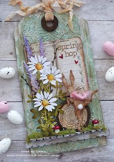 Spring Hop Tag by Emma Williams featuring tim holtz dies Atc Cards, Card Tags, Flower Cards, Paper Flowers, Tim Holtz Dies, Mixed Media Cards, Handmade Tags, Paper Tags, Artist Trading Cards
