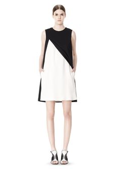 DOUBLE LAYER DRESS WITH CONTRAST SLIT - Women Short Dresses - Alexander Wang Official Site