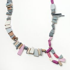 Necklace for #jewelryedition wood, milk paint, silver & c-lon #emilyrogstad - photo credit @mjelinek2