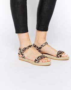 Sandals by ASOS Collection Printed leather-look upper Pin buckle ankle strap Open toe Woven-style sole Wipe with a soft cloth Textile Upper Flat Sandals, Flip Flop Sandals, Espadrilles, Open Toe, Ankle Strap, Fashion Online, Heels, Leather, Clothes