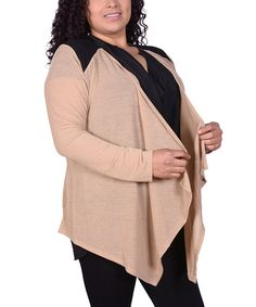 Look at this Brown & Black Yoke Open Cardigan - Plus on #zulily today!