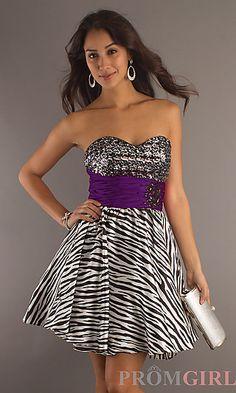 Strapless Sweetheart Zebra Dress at PromGirl.com