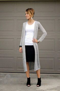 Like the longer cardigan over shorter skirt. Would add scarf and tights.