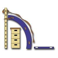 Klauterwand: dikke mat gebogen rond kast(6 stukken) met kleine mat ervoor. Zet vast met springtouwtjes aan het rechtgestelde klauterrek. Trektouw aan klauterrek knopen en over mat laten hangen. Handen aan het trektouw en klauteren maar.