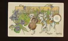 Rabbits with Musical Instruments Antique Gold Embossed Easter Postcard-kkk878