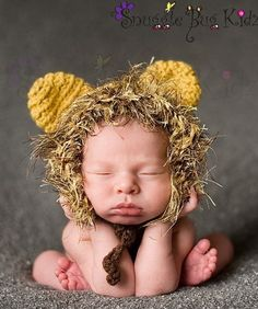 Leo the Lion - crocheted Lion hat - All sizes available - Perfect for photo props, Christmas, costumes, or baby shower gifts Crochet Lion, Crochet Baby, Cute Kids, Cute Babies, Cutest Picture Ever, Lion Hat, Baby Kind, Handmade Clothes, Kind Mode