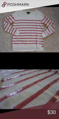 Pink and white striped sweater with sequins Pink and white striped Banana Republic sweater with sequins! Who doesn't love sequins??? Sweaters Crew & Scoop Necks