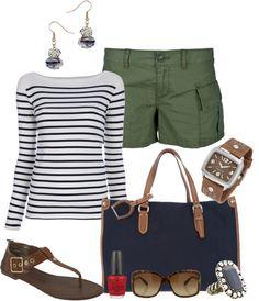 """Navy Stripes & Olive Shorts"" by fashionista88 on Polyvore"