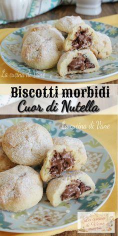 BISCOTTI CUOR DI NUTELLA si sciolgono in bocca con la Nutella che rimane cremosa #biscotti