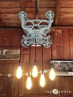 Vintage Barn Trolley Chandelier--Edison Bulbs, Vintage Cloth Covered Wire, Antiqued Brass Sockets by ikeandannie on Etsy, $425.00