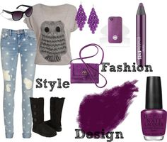 """Purple Owl"" by me2carly on Polyvore"