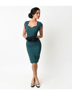 2e546579ceec77 Collectif 1950s Style Teal Regina Bengaline Stretch Wiggle Dress Vintage  Fashion 1950s