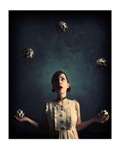 Surreal Portrait, A Spontaneous Revolution, 5x7 Print, Circus Girl, Whimsical Photo, Deep Blue Color. via Etsy.