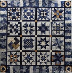 My customer Peney makes the most exquisite quilts with wonderful piecing, fabric selections and colour choices. This Blue Stars Quilt she h. Star Quilt Blocks, Star Quilts, Farmers Wife Quilt, Civil War Quilts, Sampler Quilts, Quilt Border, Blue Quilts, White Quilts, Traditional Quilts