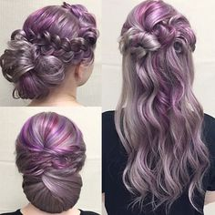 silver and purple colored hair