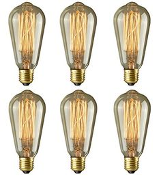 Edison Bulbs Rolay 40w Dimmable Industrial Pendant Filament Light Bulbs with Vintage Antique Style Design for Pendant Lighting Wall Sconces Ceiling Fan and Chandeliers  160 Lumens  6 Pack