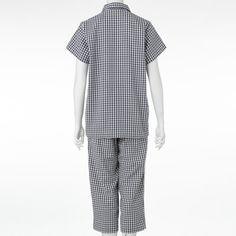オーガニックコットンドビーサッカー半袖パジャマ(七分丈パンツ)