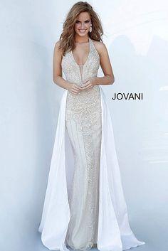 Halter Neck Embellished Jovani Dress 3698 Prom Dresses Jovani, Beaded Prom Dress, Pageant Dresses, Evening Dresses, Pageant Tips, Ivory Dresses, Formal Dresses, Formal Prom, Long Dresses