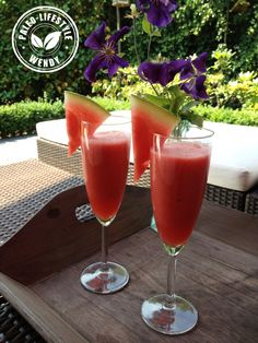 Aperitif of watermelon and strawberry - Alcohol-free aperitif of watermelon and strawberry - Summer Drinks, Fun Drinks, Healthy Drinks, Healthy Recipes, Wine Cocktails, Cocktail Drinks, Cocktail Recipes, Homemade Liquor, Tapas