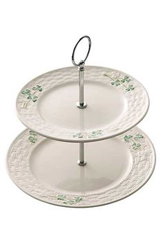 Belleek Shamrock Server - Add a charming Irish accent to your table with Belleek's lovely Shamrock Server. It features Belleek's signature embossed basketweave pattern and hand-painted shamrocks for a classic Irish touch. Belleek Vase, Belleek China, Belleek Pottery, China Vase, Tiered Server, Kitchenware, Tableware, Irish Traditions, China Patterns