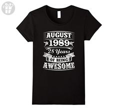 Womens August 1989 - 28th Birthday Gifts Funny Tshirt Small Black - Birthday shirts (*Amazon Partner-Link)