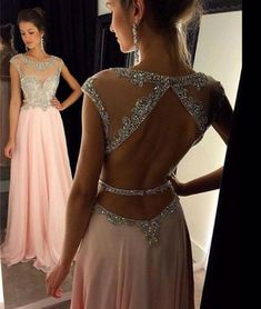 prom dresses,a-line round neck sequin long pink prom dress, formal dress