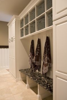 mudroom. like the tall cabinets on each side