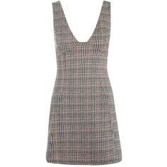 TopShop Check a-Line Pinafore Dress ($55) ❤ liked on Polyvore featuring dresses, multi, checked dress, zipper dress, a line shape dress, pinny dress and silver dress