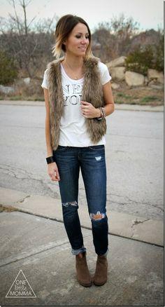 Fur vest (♥Brickyard Buffalo♥), graphic tee and dark denim. My black tee/jo. I need fur vest!