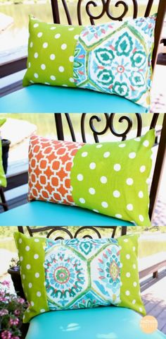 DIY Outdoor patio furniture makeover. Pillows and Cushions in fun Summer patterns and colors.