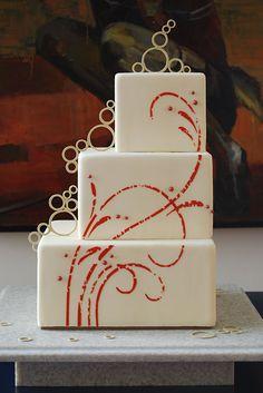 Modern Wedding Cake: Im definately going with a square cake design Gorgeous Cakes, Pretty Cakes, Amazing Cakes, Contemporary Wedding Cakes, Modern Cakes, Modern Art, Contemporary Style, White Cakes, Cake Wrecks