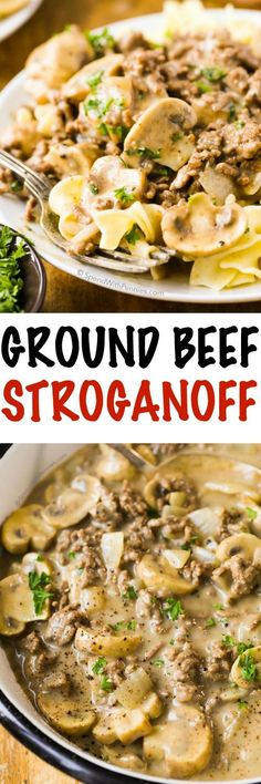 This easy Ground Beef Stroganoff features lean hamburger and tender mushrooms . This easy Ground Beef Stroganoff features lean hamburger and tender mushrooms cooked in a rich silky sauce. It's quick and delicious, making it the perfect weeknight meal! Weeknight Meals, Quick Meals, Pasta Dishes, Food Dishes, Main Dishes, Easy Ground Beef Stroganoff, Hamburger Beef Stroganoff, Ground Beef Pasta, Hardboiled