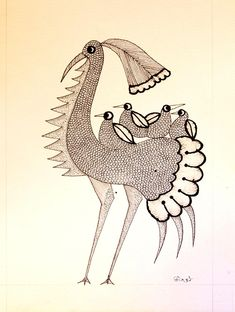Gond Art from Madhya Pradesh by The India Craft House Pichwai Paintings, Indian Art Paintings, Mural Painting, Painting & Drawing, Outline Drawings, Bird Drawings, Art Drawings Sketches, Animal Drawings, India Crafts