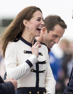 Kate Middleton, duchesse de Cambrisge, à Portsmouth le 20 mai 2016 pour soutenir le 1851 Trust dont elle est la marraine, association de promotion de la voile soutenue par l'équipe de Ben Ainslie (Ben Ainslie Racing) pour la Coupe de l'America 2017.