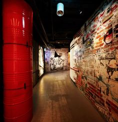 I love the wall and vibrant color of the red column. ART BAR nightclub, Singapore