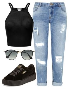 """Untitled #127"" by iouzzani on Polyvore featuring Miss Selfridge, Puma and Ray-Ban"