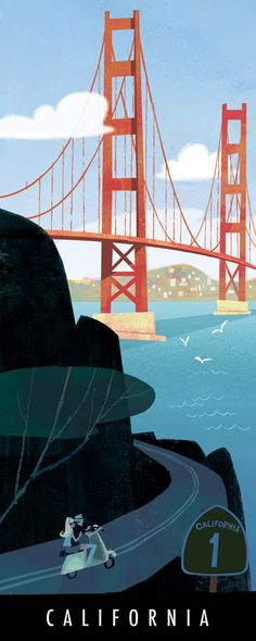 Golden Gate Bridge, San Francisco Bay and California Highway 1 travel poster Places To Travel, Places To Visit, Travel Things, Travel Stuff, Poster Retro, Print Poster, Art Print, California Dreamin', Vintage Travel Posters