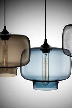 #glazenlamp #glass #pendant #hanglamp #rookglas #bruin #brown #blauw #blue www.leemconcepts.nl