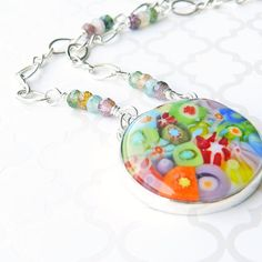 Rainbow jewelry, rainbow millifiore & sterling silver pendant necklace with multi-color tourmaline accents, LGBT jewelry,