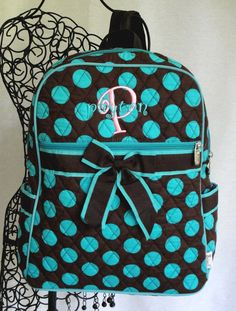 *Cute school bag*  Large Quilted Backpack Chocolate Brown With by DeerpathDesigns, $28.99