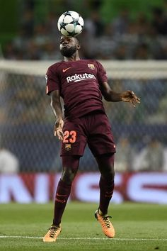 Samuel Umtiti of FC Barcelona in action during the UEFA Champions League group D match between Sporting CP and FC Barcelona at Estadio Jose Alvalade on September 27, 2017 in Lisbon, Portugal.