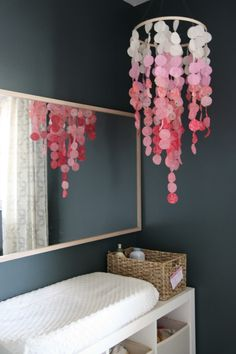 fabric circles sewn together make this baby mobile.  by house*tweaking