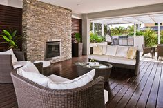 Dream outdoor alfresco: Masterton Homes Outdoor Rooms, Outdoor Living, Outdoor Furniture Sets, Custom Home Designs, Custom Homes, Double Storey House, New Home Builders, Back Patio, Outdoor Fire