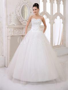 Clássico do assoalho-comprimento vestido de marfim noivas casamento vestido com bola querida pescoço cristal tule - Milanoo.com