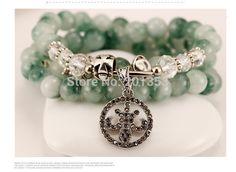 Natural crystal beaded bracelet Chrysoprase bai shuijing multilayer hand string of female stars #Affiliate