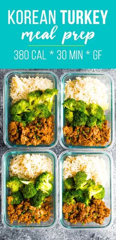 Korean turkey meal prep is packed with flavor and under 400 calories per bowl! Prep this simple ground turkey meal prep recipe on the weekend for healthy and delicious lunches through the week. #sweetpeasandsaffron #mealprep #glutenfree #healthy #lunch #groundturkey