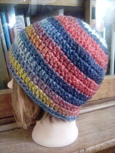 e798db7de8e Hand crocheted Multi-Color WOOL Blend Women  s hat cloche Soft Bulky Yarn