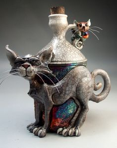Cat and Mouse whiskey raku pottery folk art sculpture by face jug maker Grafton